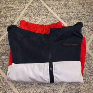red white and blue wind breaker